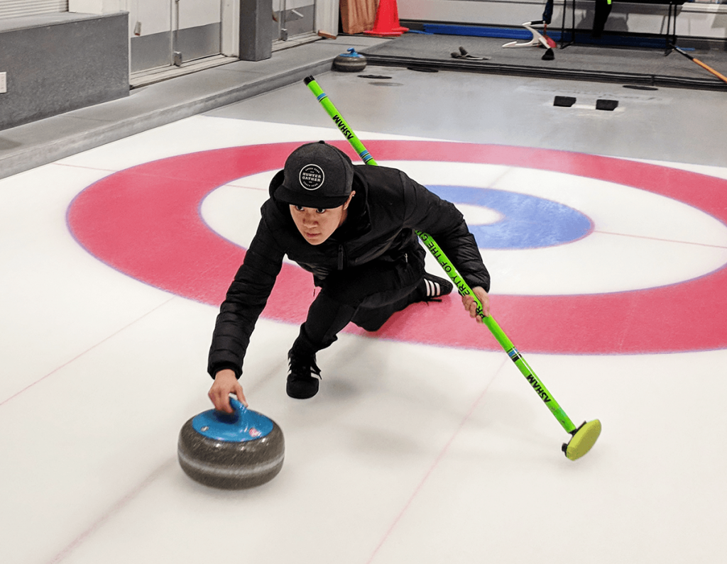Team Chinese Taipei Trainee Heidi Lin demonstrating curling delivery